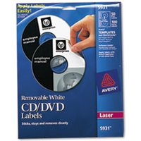 Laser CD Labels, Matte White, 50/Pack from Avery