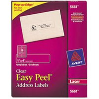 Matte Clear Easy Peel Address Labels, Laser, 1 x 4, 1000/Box from Avery