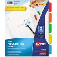 Movable Tab Dividers with Color Tabs, 5-Tab, Multicolor Tabs, 11 x 8 1/2 from Avery