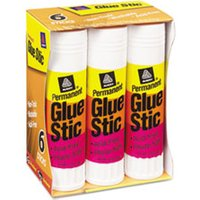 Permanent Glue Stics, White Application, 1.27 oz, 6/Pack from Avery