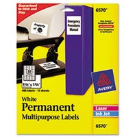 Permanent ID Labels, Inkjet/Laser, 1 1/4 x 1 3/4, White, 480/Pack from Avery