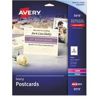 Postcards for Inkjet/Laser Printers, 4 1/4 x 5 1/2, Ivory, 4/Sheet, 100/Box from Avery