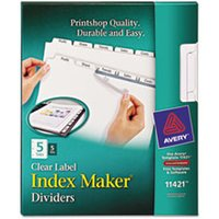 Print & Apply Clear Label Dividers w/White Tabs, Copiers, 5-Tab, Letter, 5 Sets from Avery