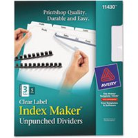 Print & Apply Clear Label Unpunched Dividers, 3-Tab, Ltr, 5 Sets from Avery