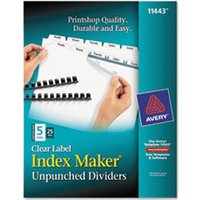 Print & Apply Clear Label Unpunched Dividers, 5-Tab, Ltr, 25 Sets from Avery