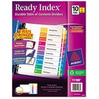 Ready Index Customizable Table of Contents, Asst Dividers, 10-Tab, Ltr, 6 Sets from Avery