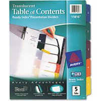 Ready Index Customizable Table of Contents Plastic Dividers, 5-Tab, Letter from Avery