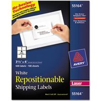 Repositionable Shipping Labels, Inkjet/Laser, 3 1/3 x 4, White, 600/Box from Avery