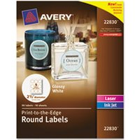 "Round True Print Labels, 2 1/2"" dia, White, 90/Pack from Avery"