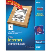 Shipping Labels w/Ultrahold & TrueBlock, Inkjet, 5 1/2 x 8 1/2, White, 50/Pack from Avery