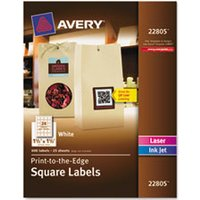 Square Print-to-the-Edge Labels w/TrueBlock, 1 1/2 x 1 1/2, White, 600/PK from Avery
