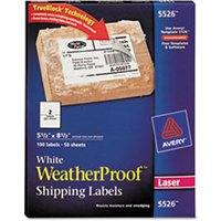 WeatherProof Shipping Labels w/TrueBlock, Laser, White, 5 1/2 x 8 1/2, 100/Pack from Avery