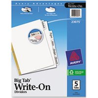 Write & Erase Big Tab Paper Dividers, 5-Tab, White, Letter from Avery