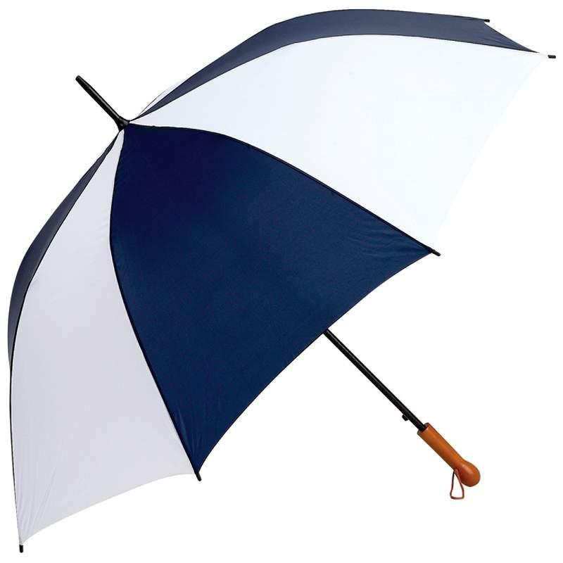 "All-Weather Elite Series 60"" Navy and White Auto Open Golf Umbrella from B&F System, Inc."