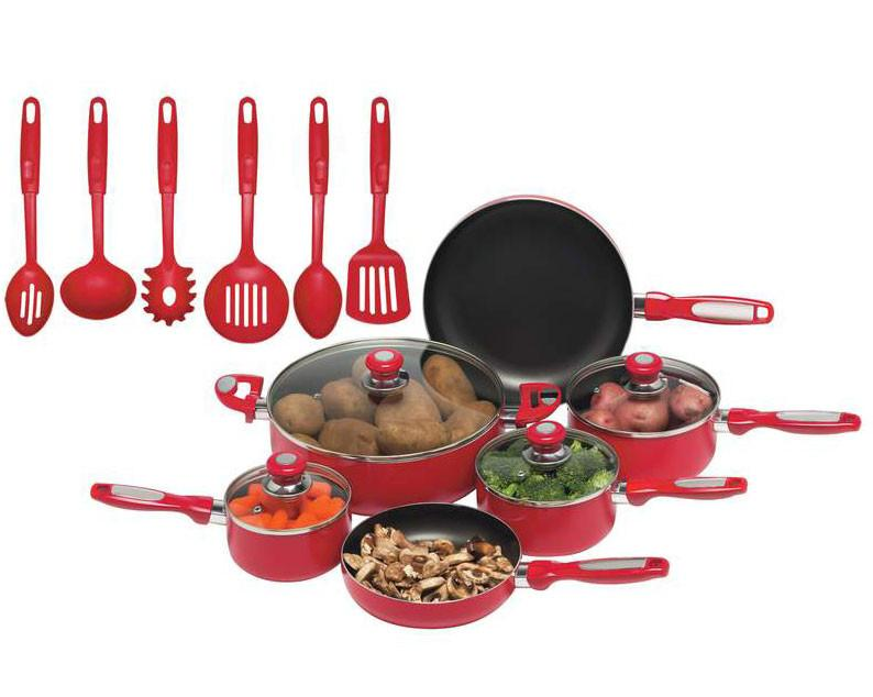 Chef's Secret 16pc Red Aluminum Cookware Set from B&F System, Inc.