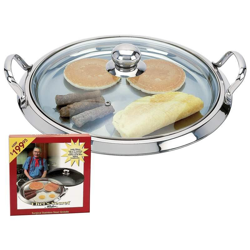 Chef's Secret by Maxam 5-Ply Surgical Stainless Steel Round Griddle with See-Thru Glass Lid from B&F System, Inc.