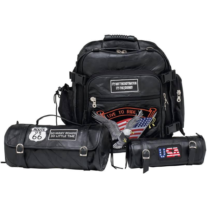 Diamond Plate 3pc Rock Design Genuine Buffalo Leather Motorcycle Bag Set from B&F System, Inc.