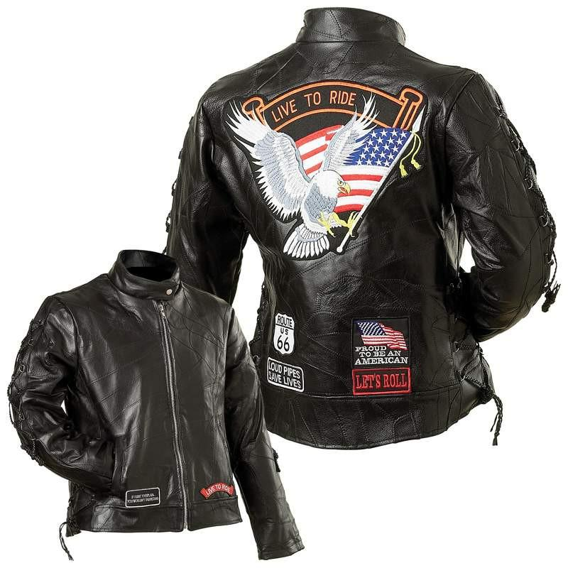 Diamond Plate Ladies' Rock Design Genuine Buffalo Leather Motorcycle Jacket from B&F System, Inc.