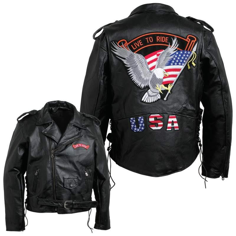 Diamond Plate Men's Hand-Sewn Pebble Grain Genuine Buffalo Leather Jacket from B&F System, Inc.