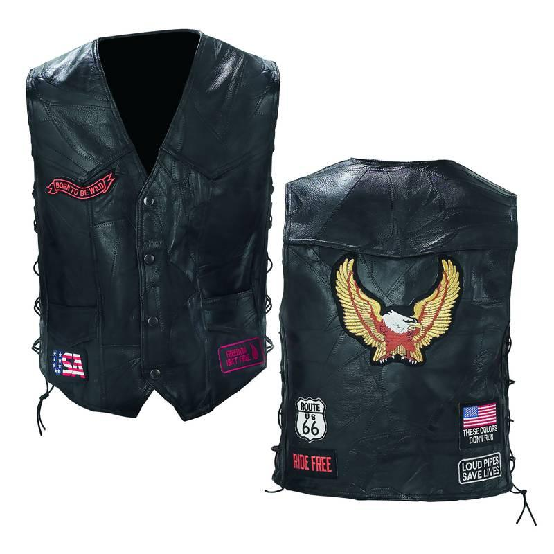 Diamond Plate Rock Design Genuine Buffalo Leather Biker Vest from B&F System, Inc.