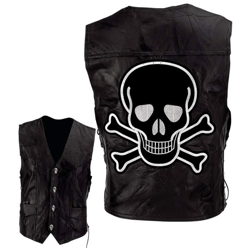 Diamond Plate Rock Design Genuine Buffalo Leather Motorcycle Vest with Skull and Crossbones Embroidered Patch from B&F System, Inc.