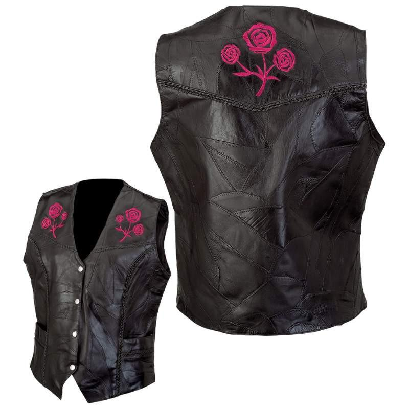 Diamond Plate Rock Design Ladies' Genuine Leather Vest from B&F System, Inc.