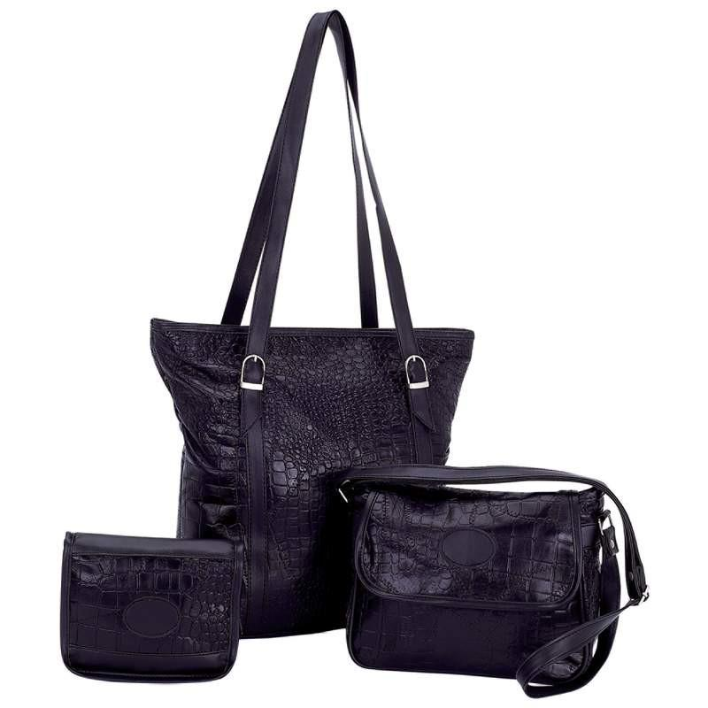 Embassy Black Genuine Leather 3pc Purse Set with Crocodile Embossing from B&F System, Inc.