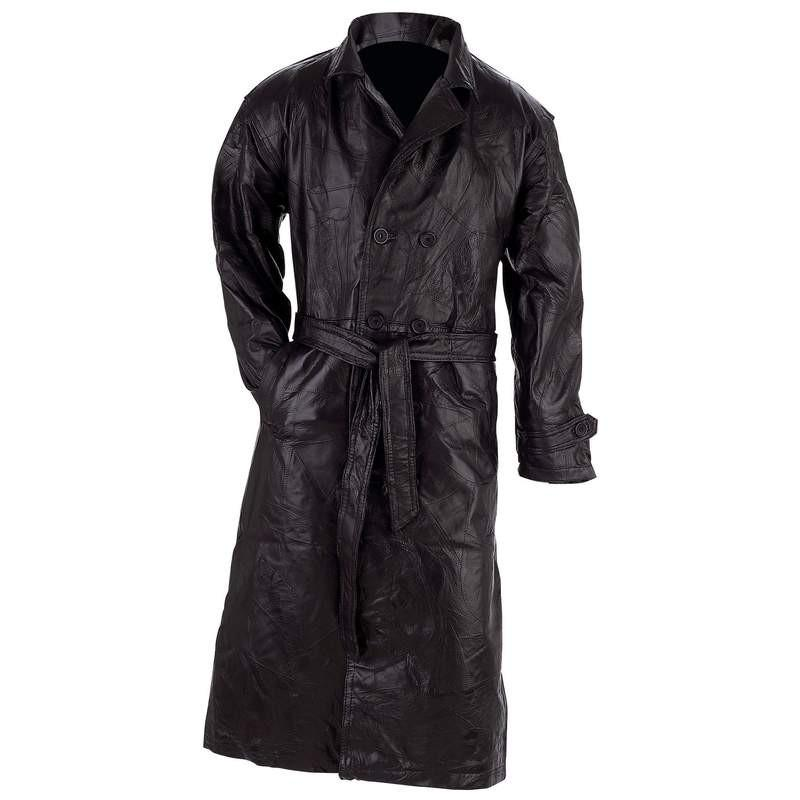 Giovanni Navarre® Unisex Italian Stone Design Genuine Leather Trench Coat from B&F System, Inc.