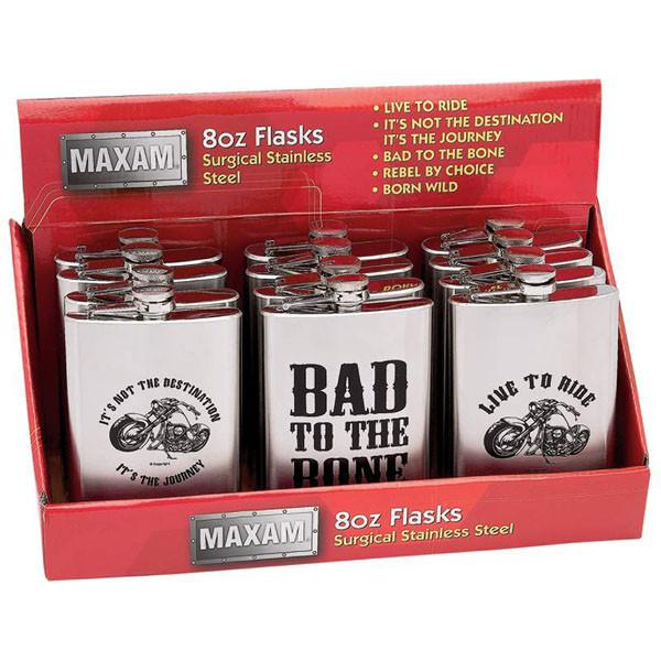 Maxam® 12pc 8oz Stainless Steel Flasks in Countertop Display from B&F System, Inc.