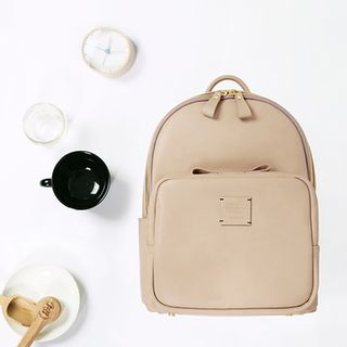 Zipper-Trim Faux-Leather Backpack from BABOSARANG