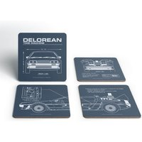 Back To The Future Delorean Schematic Coaster Set from Back to the Future