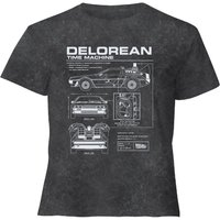 Back To The Future Delorean - Women's Cropped T-Shirt - Black Acid Wash - XL - Black Acid Wash from Back to the future