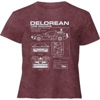 Back To The Future Delorean - Women's Cropped T-Shirt - Burgundy Acid Wash - XXL - Burgundy Acid Wash from Back to the future