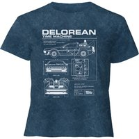 Back To The Future Delorean - Women's Cropped T-Shirt - Navy Acid Wash - XXL - Navy Acid Wash from Back to the future