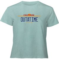 Back To The Future Outatime Plate - Women's Cropped T-Shirt - Mint Acid Wash - XL - Mint Acid Wash from Back to the future