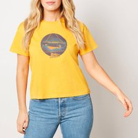 Back to the Future Kanji Triangle Cropped T-Shirt - Mustard - S - Yellow from Back to the future