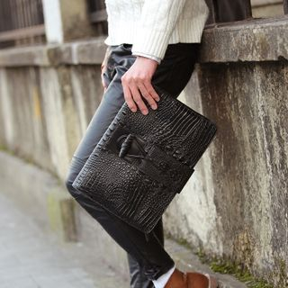 Faux Croc Grain Leather Clutch from BagBuzz