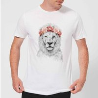 Balazs Solti Lion And Flowers Men's T-Shirt - White - 4XL - White from Balazs Solti