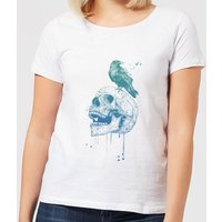 Balazs Solti Skull And Crow Women's T-Shirt - White - XL - White from Balazs Solti