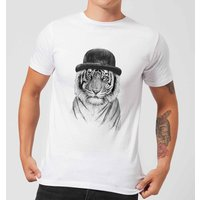 Balazs Solti Tiger In A Hat Men's T-Shirt - White - S - White from Balazs Solti