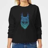 Wolf Women's Sweatshirt - Black - S - Black from Balazs Solti