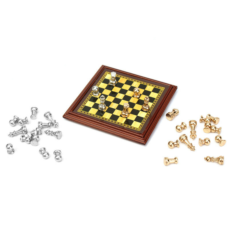 1:12 Scale Dollhouse Miniature Metal Chess Set Board Toys Home Room Ornaments from Banggood