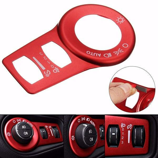 Aluminum Red Fog Headlight Button Switch Trim Cover Decor Frame Decoration For Jeep Cherokee 15+ from Banggood