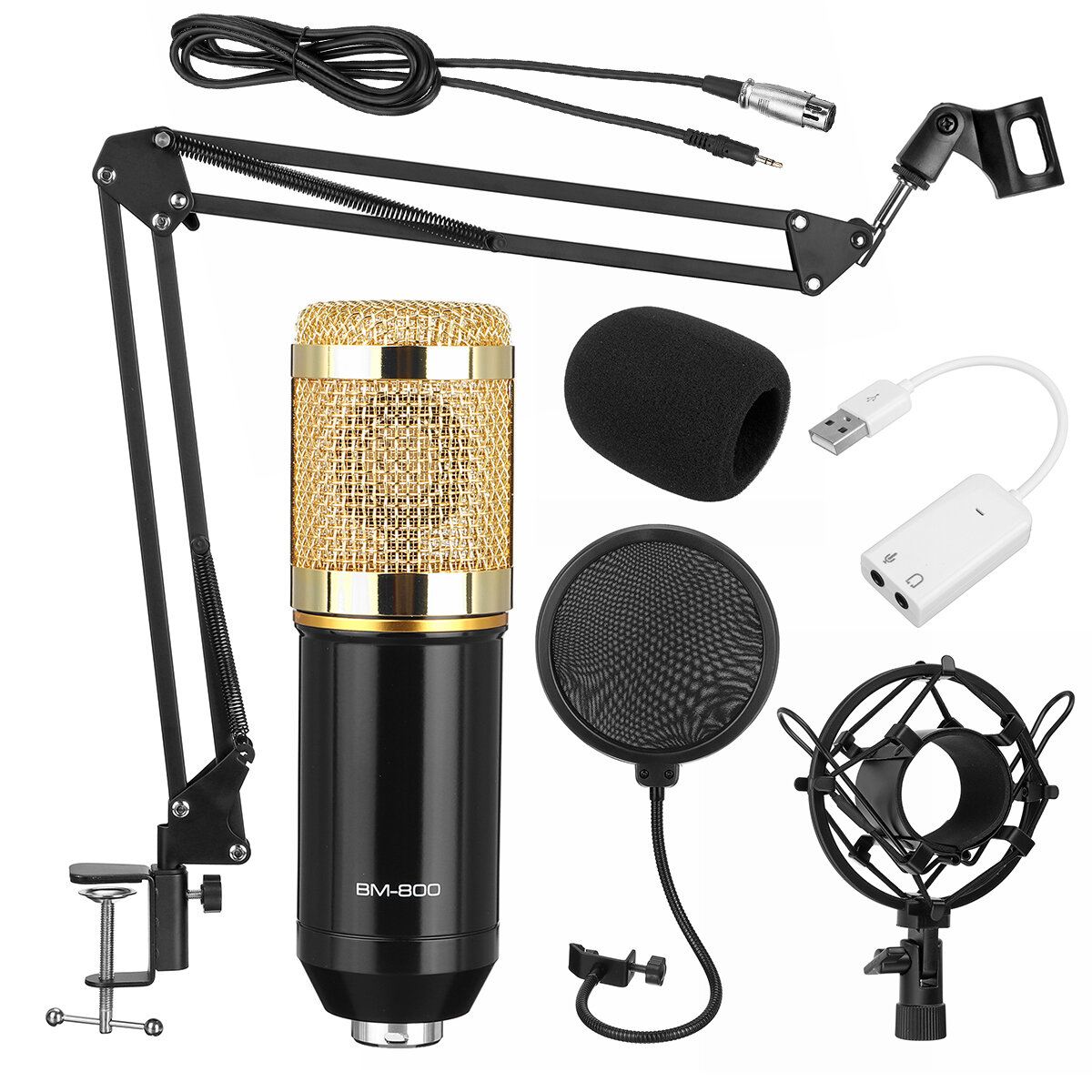 BM800 Pro Condenser Microphone Kit Studio Suspension Boom Scissor Arm Stand with Fliter from Banggood