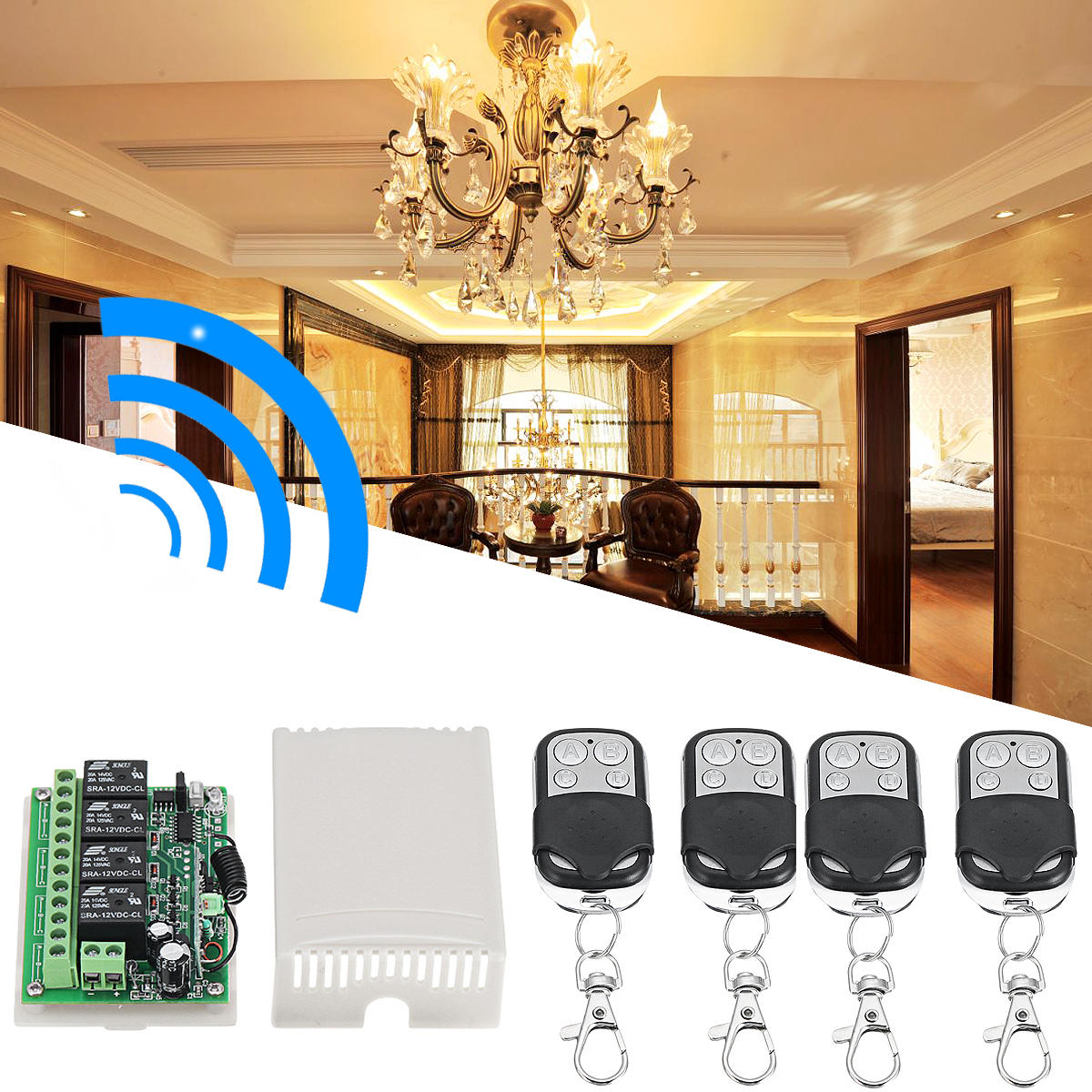 DC12V 4 Transmitter & Receiver Relay 4CH 433MHz Wireless Remote Control Light Switch from Banggood