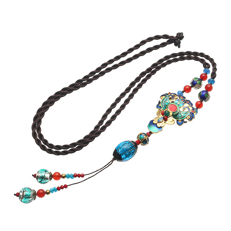 Ethnic Retro Necklace Vintage Jade Beads Rope Long Necklace For Women from Banggood