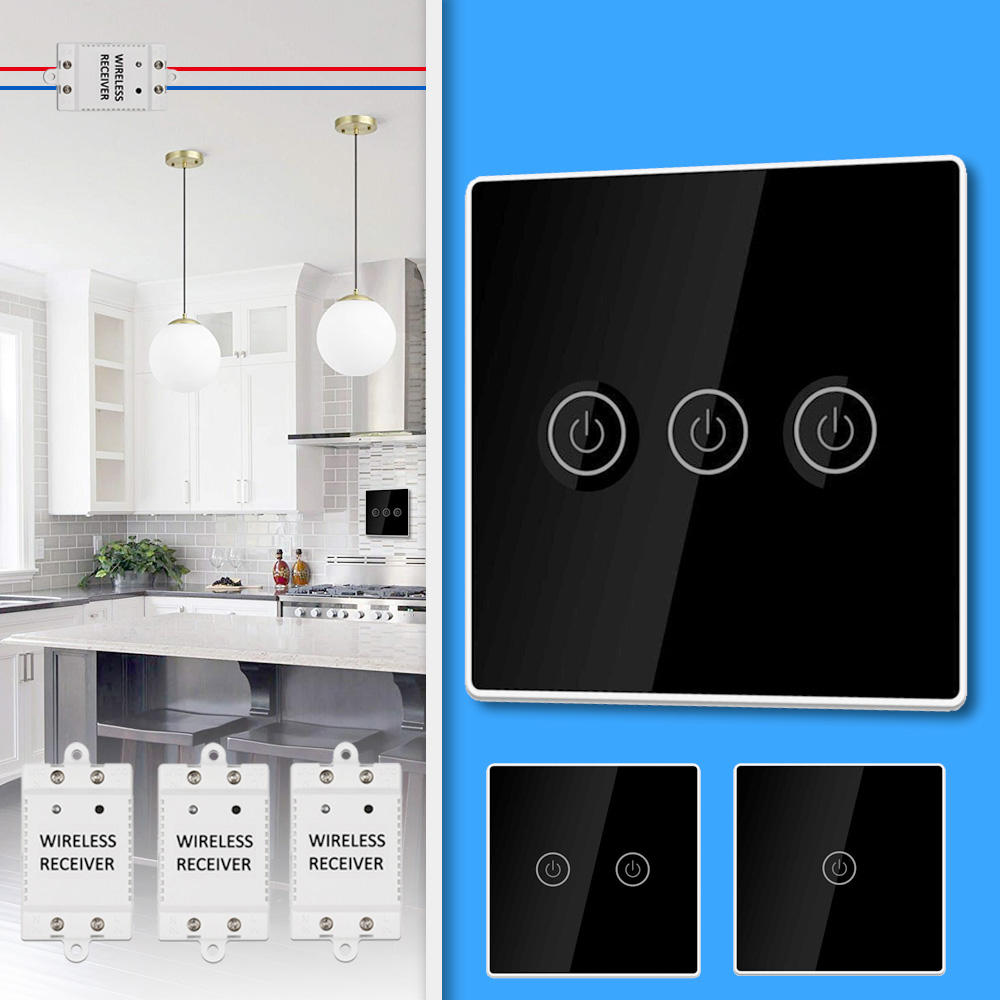 KCASA 1/2/3 Gang AC200-240V Wireless Panel Touch Switch with 3PCS Receiver Kit Remote Control Smart Home Control Module from Banggood