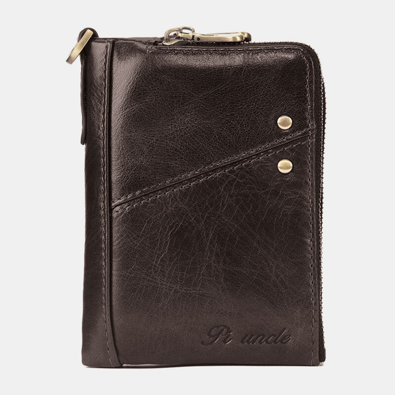 Men Genuine Leather RFID Blocking 12 Cards Slots Wallet Zipper Coin Bag Card Holder from Banggood