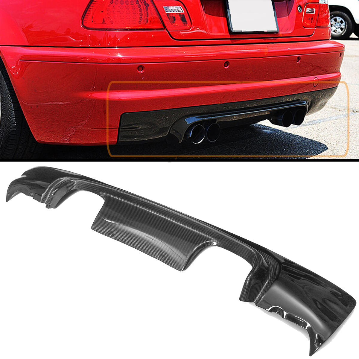 Real Carbon Fiber Rear Bumper Diffuser CSL Style 2-Tone For BMW E46 M3 COUPE 2002-2006 from Banggood