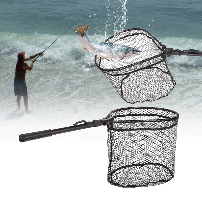 ZANLURE 81cm Aluminum Alloy Fishing Net Folding Soft Rubber Fishing Mesh Fishing Tools from Banggood